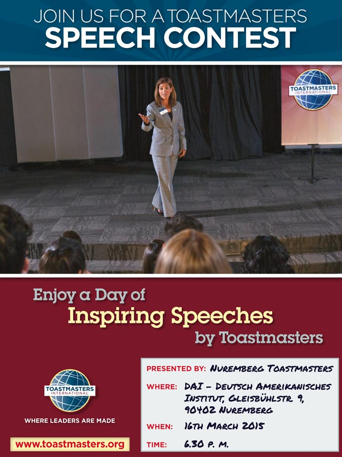 Join us for our Spring Speech and Evaluation Contest