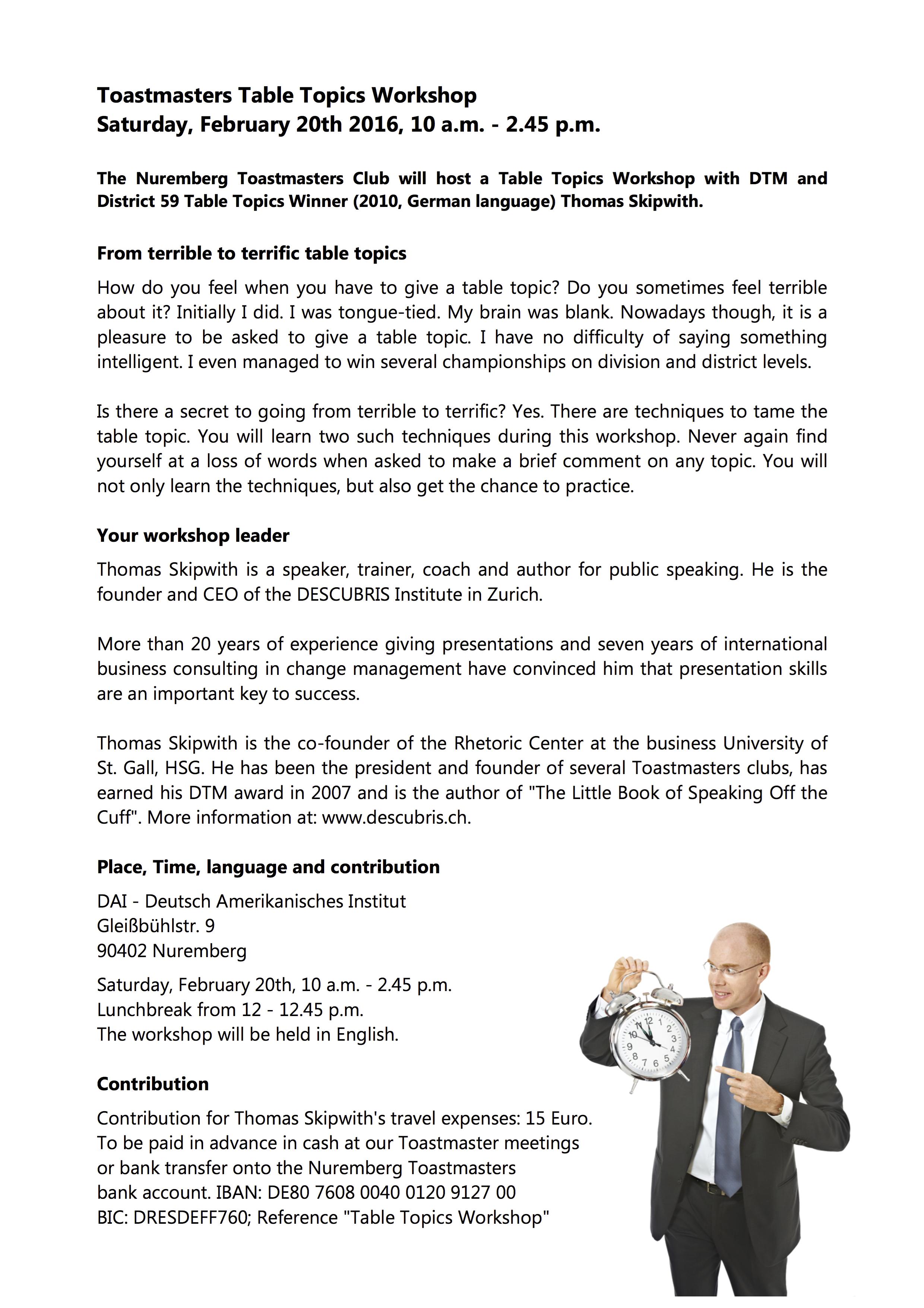 Nuremberg Toastmasters Table Topics Thomas Skipwith Workshop